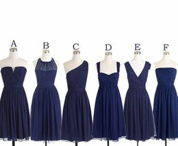 Wholesale Green Color Samples - Dark Navy Blue Bridesmaid Dress Real Sample Picture A Line Chiffon Knee Length Women Wear Maid of Honor Dress For Wedding Party Gown