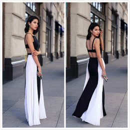 Wholesale Sleeveless Mosaic Dress - Summer New Fashion Camisole Mosaic Backless Evening Dresses Hollow Out Mermaid Skirt Prom Dresses robe de soiree 2017