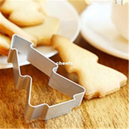 Wholesale Christmas Tree Jelly Mould - 5 pcs lot Christmas Tree Shaped Aluminium Mold Buscuit Tools Cookie Cake Mold Jelly Pastry Baking Cutter Mould Tool AF145-1