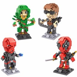 Wholesale Plastic Skull Figures - LOZ Puzzle Building Blocks ABS 9cm Deadpool Arrow Hawkeye Red Skull Action Figure Model Toy DIY Toy Limited Collection 9520-9523