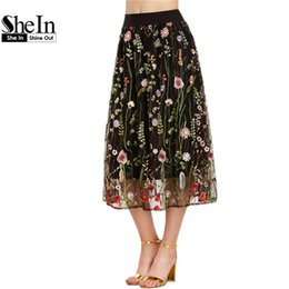 Wholesale Embroidered Overlay - SheIn Bohemian Skirt Women Vintage Long Skirt Ladies Elegant Black Floral Embroidered Mesh Overlay A Line Midi Skirt