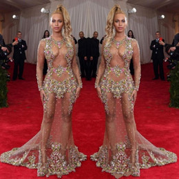 Wholesale Pink Celebrity Dresses - 2017 Sheer Beaded Evening Dress Beyonce Met Ball Red Carpet Dresses Nude Naked Celebrity Gown See Through Formal Wear Sweep Train Backless