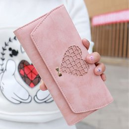 Wholesale Black Heart Wallet - YOUYOU MOUSE Lovely Hollow Heart Pattern Wallet Long Section PU Leather 3 Fold Women Wallet Solid Color Large Capacity Purse