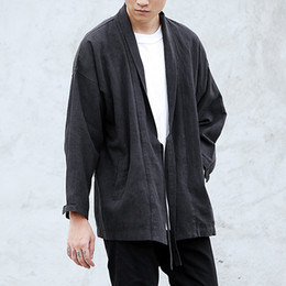 Wholesale Vintage Linen Clothing - Wholesale- new fashion mens clothing black brown linen denim kimono jacket hip hop fashion windbreaker coat kanye west stage wear M L XL