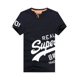 Wholesale Tee Shirt Red Collar - 2017 New Brand Superdry T-Shirt Men's Short Sleeve Cotton Jersery Tee Shirts Print Super dry Round Collar Casual Shirt Tops