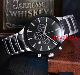 Wholesale Blue Two Tone Dress - luxury brand watches men timeworker black silver two tone watch quartz chronograph sports ceramics fashion watches men dress wristwatch