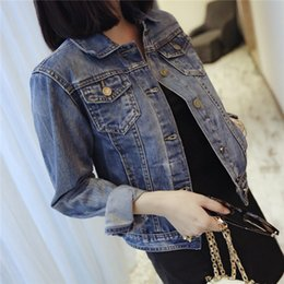 Wholesale Korean Women S Jeans - New fashion jeans coat Slim New fashion wild jeans jacket Korean womens long sleeve denim jacket