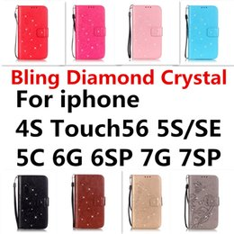 Wholesale Diamond 4s - For iphone 4S Touch56 5S SE 5C 6G 6SP 7G 7SP Bling Diamond Crystal[Emboss Flower][Card Slot]Wallet with Kickstand Wrist Strap