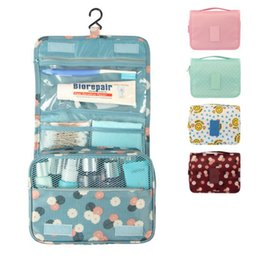 Wholesale Travelling Beauty Case - Cosmetic Case Makeup Travel Toiletry Hanging Purse Holder Beauty Portable Wash Make up Bag Organizer With Hook drop shipping