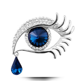 Wholesale Eye Pins For Jewelry - Wholesale- ngel eye & teardrop brooch pin for women austrian crystal jewelry gold & silver plated top fashion