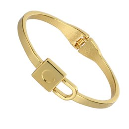 Wholesale Mens Real Gold Bracelets - Wholesale- New Real gold plated Bangles Women Mens Minimalist Lock Design Gold Cuff Bangles Bracelet Cuff Bangles Friends Gift Pulseiras