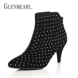 Wholesale High White Crystal Sexy Wedges - Black Women Ankle Boots Winter Autumn Rhinestones Crystal Boots High Heels Shoes Woman Sexy Flock Plus Size Pumps For Females 40