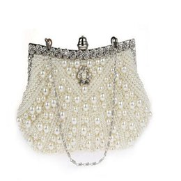 Wholesale Handmade Purse Crystal - 2017 New Euramerican Fashion handmade jeweled crystal pearl evening bag purse Wedding Bridal bags Party Bags