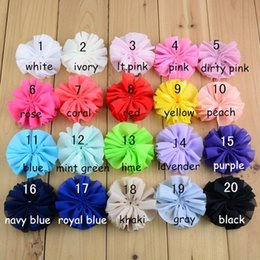 Wholesale Headbands Hairband Hair Clips - girls headbands network selling flower clips for baby girls 3.2 inches fold CHIFFON FLOWER 20 color mix order hairband baby headband felt