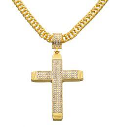 Wholesale Large Fashion Cross Pendants - New Fashion Large Crystal Cross Pendant Necklace Hip Hop Rap Punk Rock 36inch long Chain Jewelry Drop Shipping