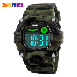 Wholesale Led Dial Clock - Wholesale- SKMEI Men Sport Watch Russian Voice Timekeeping Clock Digital Wristwatches LED Display Fashion Male Big Dial Man Watches 1162