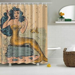 Wholesale Shower Curtains Polyester - Wholesale- Custom Shower Curtain Retro Golden Mermaid Design Bathroom Waterproof Mildewproof Polyester Fabric With Multi-Size +12 Hooks