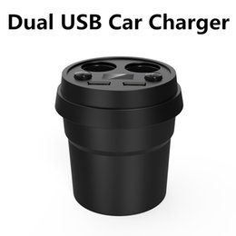 Wholesale Usb Socket Design - Personalized Design Cup Shaped Car Charger Power Adapter Dual Cigarette Lighter Sockets Dual USB Ports LED Display for iPhone 7 6S Plus