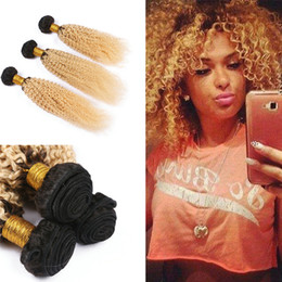 Wholesale Kinky Curly Ombre Hair Dye - Dark Root 1B 613 Kinky Curly Human Hair Weaves Two Tone Peruvian Virgin Hair Ombre 1B 613 Afro Kinky Curly Hair Extension