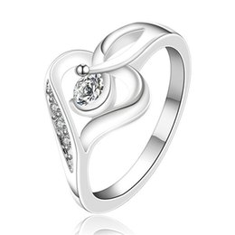 Wholesale Best Planting - best gift Inlaid heart sterling silver finger ring fit women,wedding white gemstone 925 silver rings Solitaire Ring Wedding Rings ER153