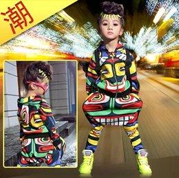 ropa de hip hop para niños al por mayor Rebajas Al por mayor-Nueva moda maya ropa para niños conjunto desgaste de la danza Trajes Jamaica Totem niños trajes deportivos Hip Hop harem pantalones sudadera