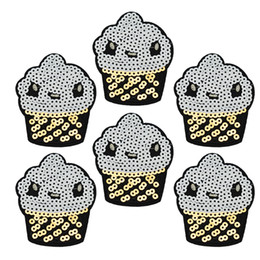 Wholesale Cupcakes Accessories Wholesale - 10 pcs Sequined Cupcake patches for clothing iron embroidered patch applique iron sew on patches sewing accessories for clothes