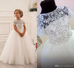 Wholesale Hand Print Pictures - Sash Crystals Tulle Ball Gown Flower Girl Dresses Vintage Child Pageant Dresses Holy Communion Flower Girl Wedding Dresses F21