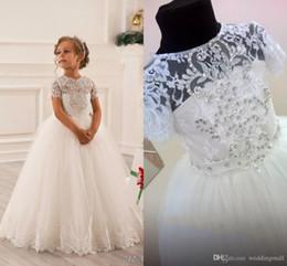 Wholesale Child Pink Fur Vest - Sash Crystals Tulle Ball Gown Flower Girl Dresses Vintage Child Pageant Dresses Holy Communion Flower Girl Wedding Dresses F21