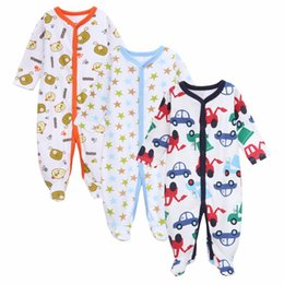 Wholesale Boys Plaid Pajamas - 2016 Newborn 3pcs Lot Baby Boy Clothes Baby Rompers Long Sleeve Cotton Sleepwear Pajamas Infant Jumpsuits Baby Product
