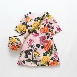Wholesale Girls Kids Bags - Girls Summer Dress with Flower Printed Disfraz Infantil Baby Girl Costume for Kids Clothes Princess Dress with Bags