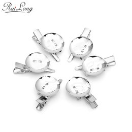 Wholesale Brooch Diy - Wholesale- 20pcs lot 25mm 30mm quality dual-hairpin brooch rhodium plated Tone Alligator Prong Clip Brooches W Pin Needle DIY accessories