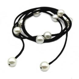 Wholesale Gray Baroque Pearls - Baroque Pearl Leather Long Bracelet Necklace Women Casual Style DIY Charm Bijoux Summer Beach Bohemia Jewelry Armbanden Voor Vrouwen
