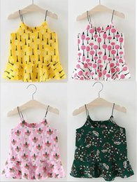 Wholesale Little Trees Wholesale - 7 color Korean style 2017 new arrival girl summer Pineapple tree little flower printting skirt cotton sling dress free shipping