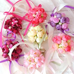 Wholesale Wrist Corsage Pink - Wholesale-5 Colors Rose Wrist Corsage Bridesmaid Sisters hand Artificial Bride flowers For Wedding Party Decoration Brid Free shipping