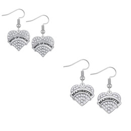 Wholesale Two Heart Pendant - Special Design Fashion Heart Shape Two Color Crystal Message MAJORETTE\MAID OF HONOR Pendants Earrings DIY Accessories For Women