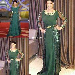sequined beaded mother bride Promo Codes - Hunter Green Long Mother of the Bride Dresses Sequined Crew Neck Beaded Sash Plus Size Long Sleeve Evening Dresses Gowns for Mother 2017