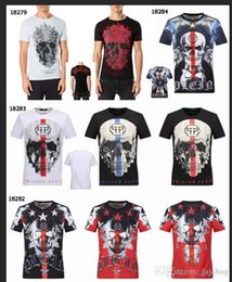 Wholesale Hot Mens Shirts - Hot Summer Tide Brand Cotton Short Fit Slim Casual Mens Tee Print 3D Skulls Rhinestone desinger MENS T-shirts Cotton quality P18279-18282