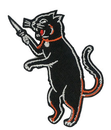 Wholesale Kids Funny Clothing - Black Cat Takes a Knife Funny Cartoon Embroidered Iron on Patch Kids Favorite Badge DIY Applique Clothing Patch Emblem Free Shipping 4 inch