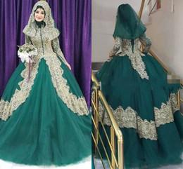 Hijab barato on-line-2019 turco islâmico vestido de noiva barato vestidos de noiva Couture Robe De Mariage ouro Applique Hijab Dubai Kaftan muçulmana vestidos de fiest