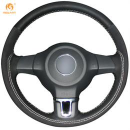 Wholesale Volkswagen Jetta Bora - Mewant Black Genuine Leather Black Suede Steering Wheel Cover for Volkswagen Golf 6 Mk6 VW Polo Sagitar Bora Santana Jetta Mk6