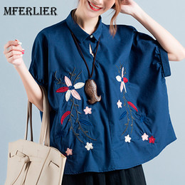 Wholesale Fashion Linen Blouses - Womens Blouses Fashion Floral Embroidered Plus size Cotton Linen Blouse Short sleeve Blue White Summer Tops Size L-XL