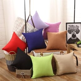 Wholesale White Home Decor - New Pillowcase Pure Color Polyester White Pillow Cover Cushion Cover Decor Pillow Case Blank Christmas Decor Gift 45 * 45CM IB273