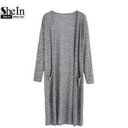 Wholesale Open Front Color Cardigan - Wholesale-SheIn Womens Cardigan Sweaters Casual 2016 Autumn Grey Long Sleeve Open Front Marled Knit Long Cardigan With Pocket