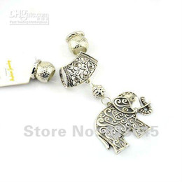 Wholesale Elephant Scarf Pendants - 12 sets lot, Wholesale Scarf Jewelry Findings Silver Alloy Elephant Pendant Sets with CCB Beads, Fre
