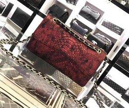 Wholesale Distressed Leather Wallet - Vintage Handbags Women Messenger bags Designer handbags wallets for women fashion Snake skin chain bag shoulder bags