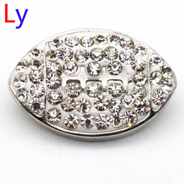 Wholesale Rhinestone Football Beads - White rhinestone Football DOG snap button jewelry metal snap for bracelet (fit 18mm 20mm snap) noosa jewelry making supplier NR0072