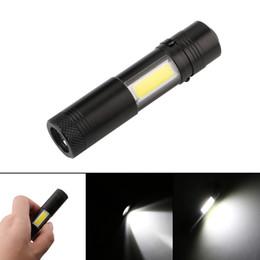 Wholesale Flash Light Cree Aa - Pen Lights Portable lantern Mini LED Flashlight Torch CREE Q5 COB Flash Light Hunting Camping Lamp work light with 14500 or AA battery