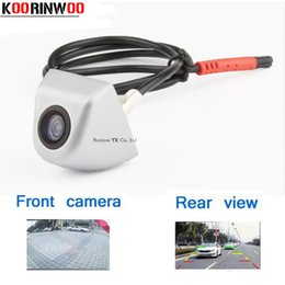 Wholesale Parking System Silver - KOORINWOO Universal HD CCD Mini Silver Car Front camera   Rear View Camera Reversing Parking Camera Waterproof Backup Parking System