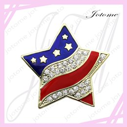 Wholesale Usa Flag Pins - 100PCS Lot China Wholesale Patriotic Star Brooch American USA Flag Pin Independence Day 4th of July Memorial Veterans' D