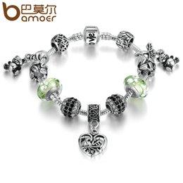 Wholesale Glass Charm Panda - Silver Color Green European Glass Beads Panda Pendant Love Clasp Charms Bracelets Women Fashion Jewelry PA1896